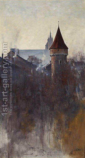 Cracow in the Morning by Julian Falat - Reproduction Oil Painting