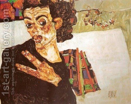 Self-Portrait with Black Earthenware Vessel (Selbstbildnis mit schwarzem Tongefass) by Egon Schiele - Reproduction Oil Painting