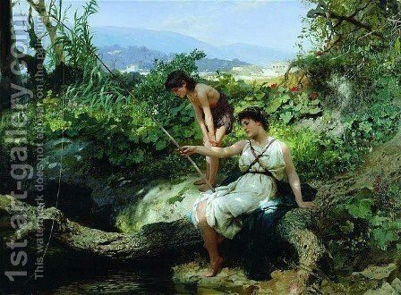 Roman Idyll - Fishing by Henryk Hector Siemiradzki - Reproduction Oil Painting