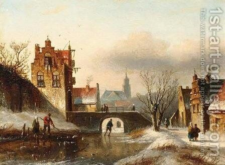 Figures on a Frozen Canal in a Dutch Town by Jan Jacob Coenraad Spohler - Reproduction Oil Painting