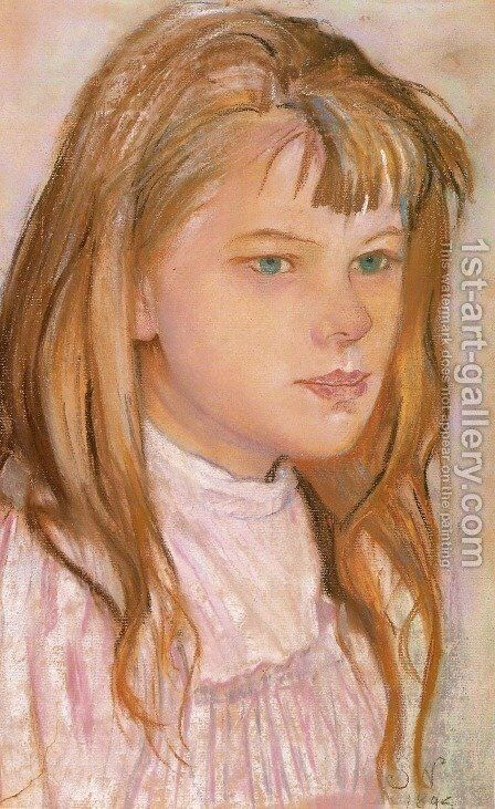 Head of a Girl I by Stanislaw Wyspianski - Reproduction Oil Painting