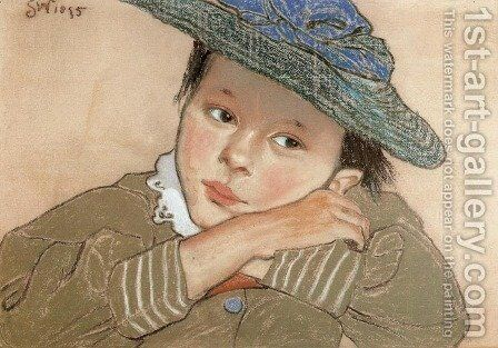 Girl in a Blue Hat by Stanislaw Wyspianski - Reproduction Oil Painting