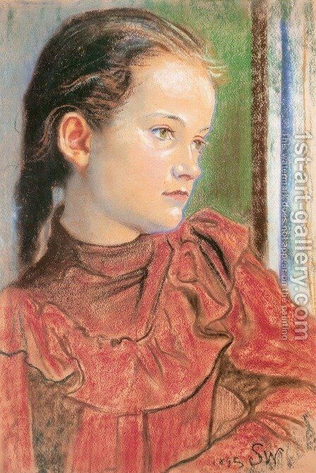 Portrait of a Girl in a Red Dress by Stanislaw Wyspianski - Reproduction Oil Painting