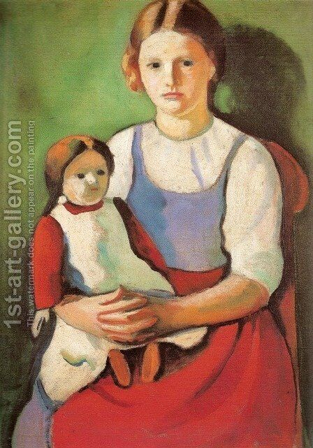 Blond Girl with Doll (Blondes Madchen mit Puppe) by August Macke - Reproduction Oil Painting