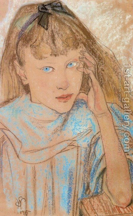 Girl With Blue Eyes by Stanislaw Wyspianski - Reproduction Oil Painting
