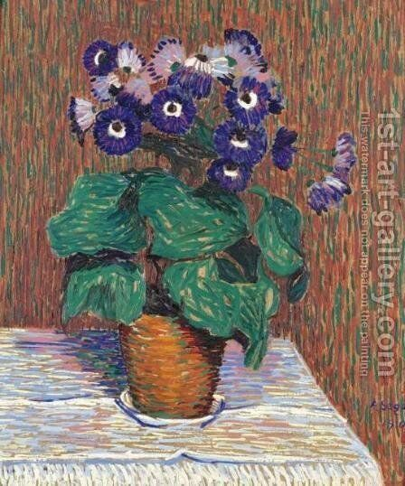 Still Life with Flower Pot by Arthur Segal - Reproduction Oil Painting