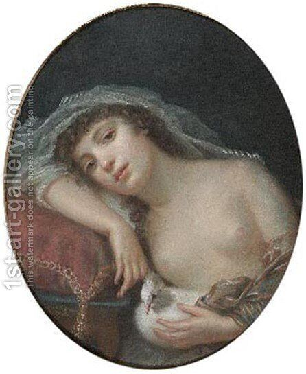 Girl with a Dove by Anna Rajecka - Reproduction Oil Painting
