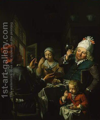 Food Lovers by Christoffel Lubieniecki - Reproduction Oil Painting