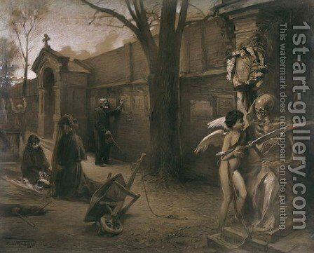 Jokers (At the Cemetery) by Antoni Kamienski - Reproduction Oil Painting