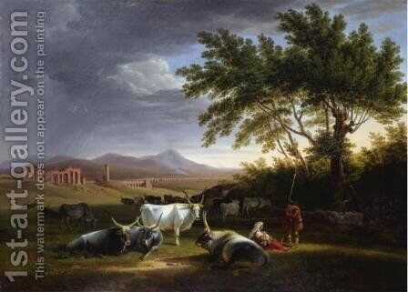 Roman Campagna with the Acquedotto Claudio in the Distance by Mathias Gabriel Lory - Reproduction Oil Painting