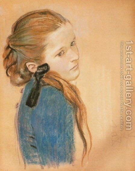 Portrait of a Girl I by Stanislaw Wyspianski - Reproduction Oil Painting