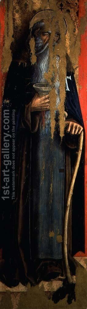 St. Anthony Abbot, left hand panel of the second triptych of the Valle by Carlo Crivelli - Reproduction Oil Painting