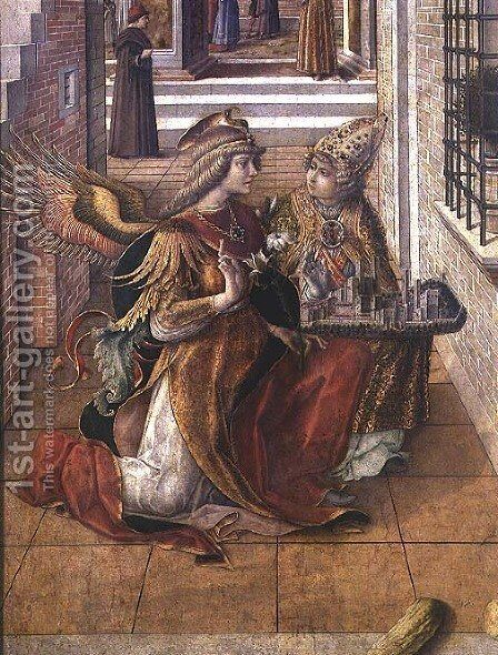 The Annunciation with St. Emidius, detail of the archangel Gabriel with the saint, 1486 by Carlo Crivelli - Reproduction Oil Painting