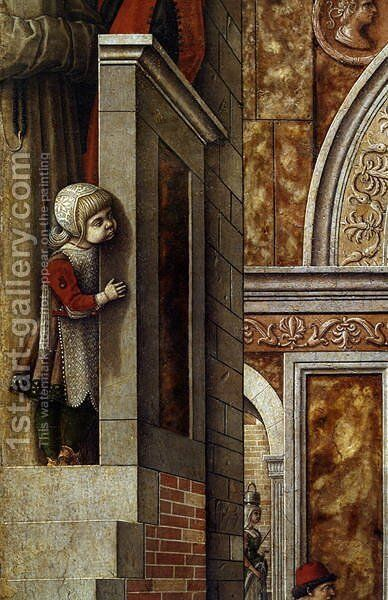 The Annunciation with St. Emidius, 1486 (detail 1) by Carlo Crivelli - Reproduction Oil Painting