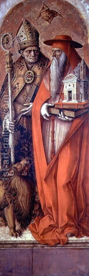 SS. Jerome and Augustine, side panel from the Madonna della Candeletta triptych by Carlo Crivelli - Reproduction Oil Painting