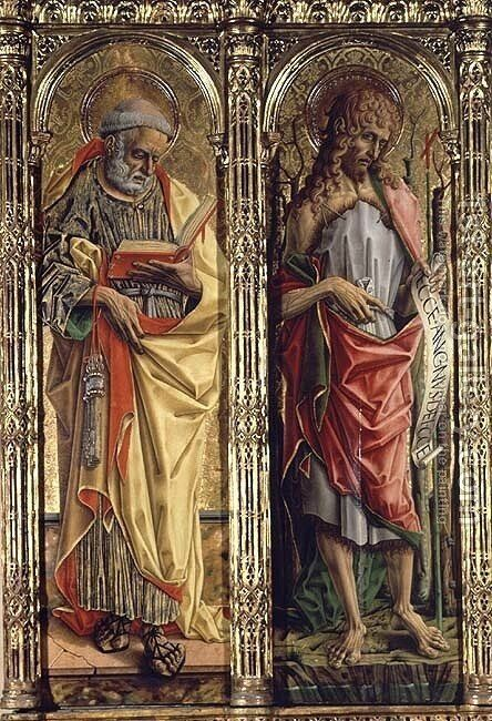 St. Peter and St. John the Baptist, detail from the Sant'Emidio polyptych, 1473 by Carlo Crivelli - Reproduction Oil Painting