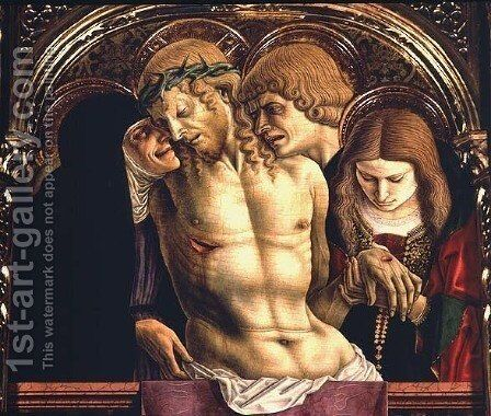 Lamentation of the Dead Christ, detail from the Sant'Emidio polyptych, 1473 by Carlo Crivelli - Reproduction Oil Painting