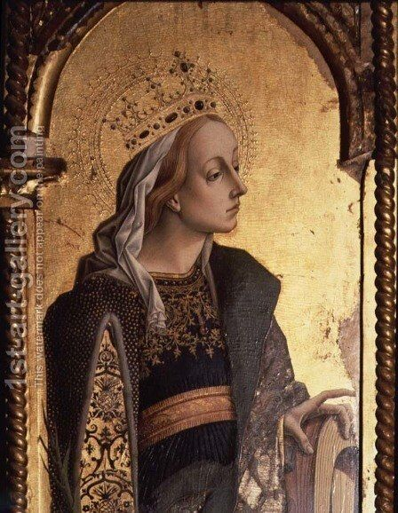 St. Catherine, detail from the Santa Lucia triptych by Carlo Crivelli - Reproduction Oil Painting