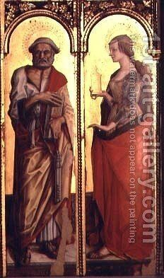 St. Peter and St. Mary Magdalene, detail from the Santa Lucia triptych by Carlo Crivelli - Reproduction Oil Painting