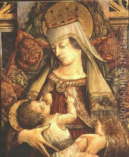 Madonna Suckling her Child (detail) by Carlo Crivelli - Reproduction Oil Painting