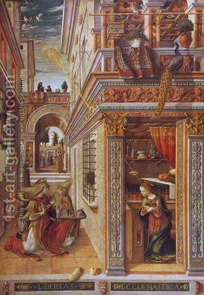 The Annunciation with St. Emidius, 1486 by Carlo Crivelli - Reproduction Oil Painting