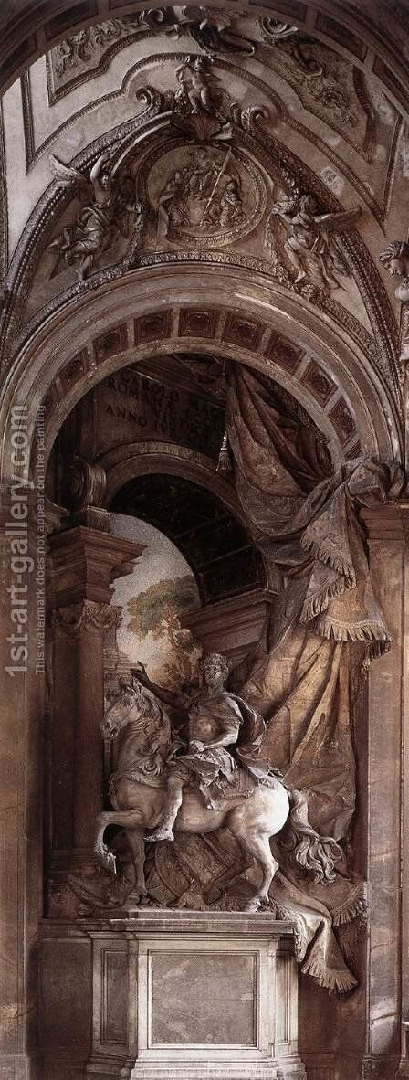 Equestrian statue of Charlemagne by Agostino Cornacchini - Reproduction Oil Painting