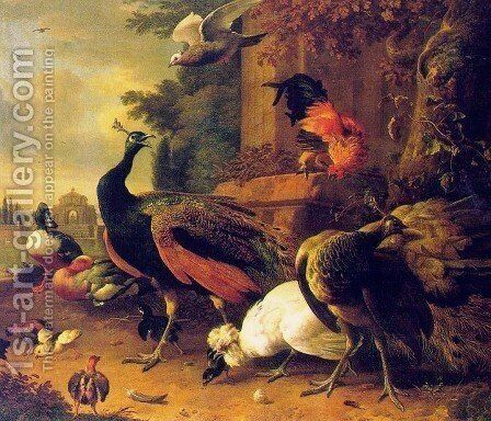 Birds in a Park by Melchior de Hondecoeter - Reproduction Oil Painting