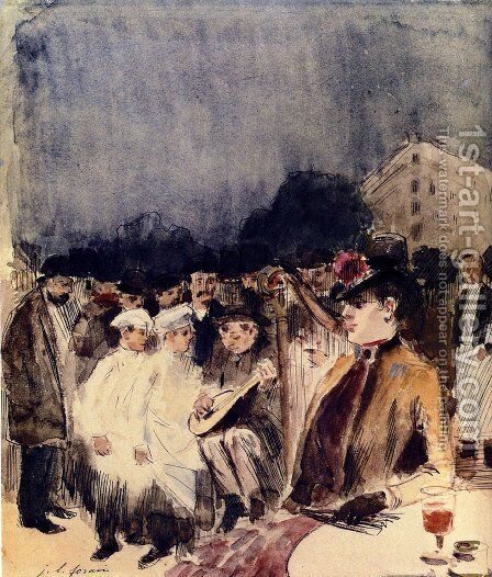Musiciens Ambulants Devant La Terrasse D'Un Cafe by Jean-Louis Forain - Reproduction Oil Painting