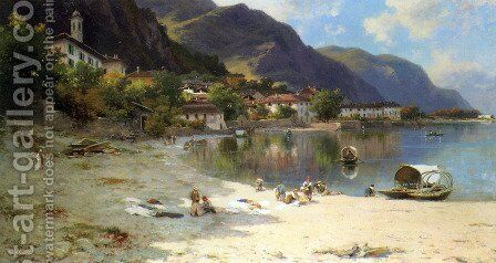 On The Shores of Lake Lecco by Silvio Poma - Reproduction Oil Painting