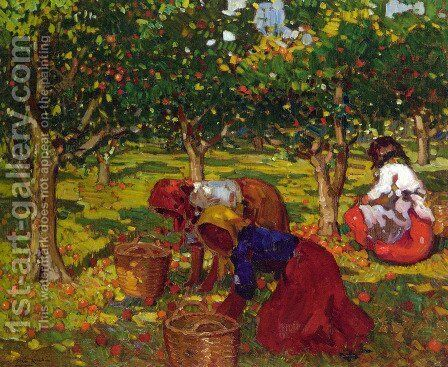 The Orange Harvest by Alberto Pla y Rubio - Reproduction Oil Painting