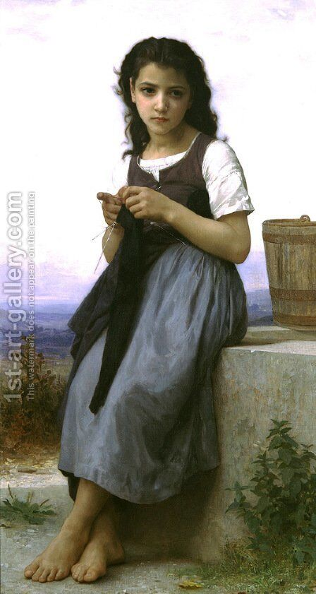 La Tricoteuse (The Little Knitter) 2 by William-Adolphe Bouguereau - Reproduction Oil Painting