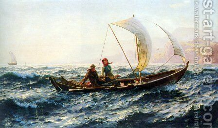 A Blustery Crossing by Hans Dahl - Reproduction Oil Painting