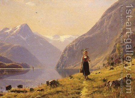 By The FJord by Hans Dahl - Reproduction Oil Painting