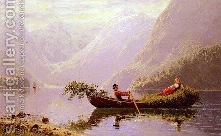 The Fjord by Hans Dahl - Reproduction Oil Painting