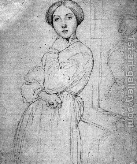 Study for Vicomtesse d'Hausonville, born Louise Albertine de Broglie I by Jean Auguste Dominique Ingres - Reproduction Oil Painting