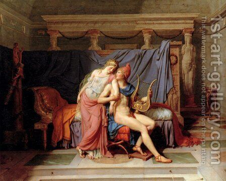 The Courtship of Paris and Helen by Jacques Louis David - Reproduction Oil Painting