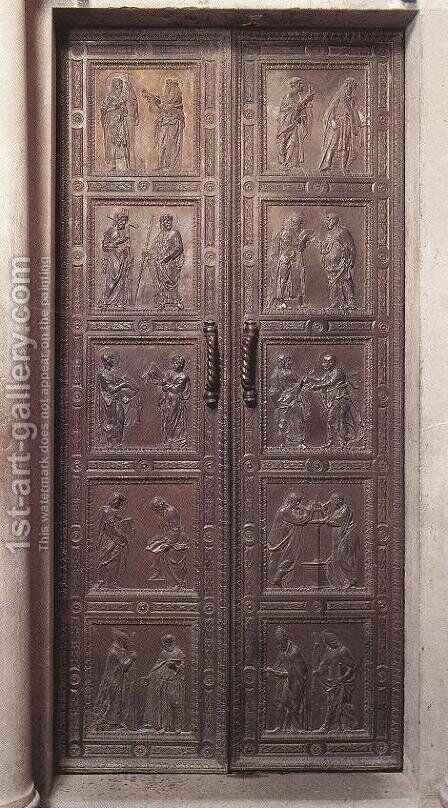Door with the representation of Apostles by Donatello - Reproduction Oil Painting