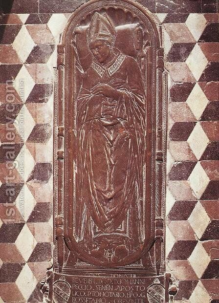 Tombstone of Bishop Giovanni Pecci by Donatello - Reproduction Oil Painting