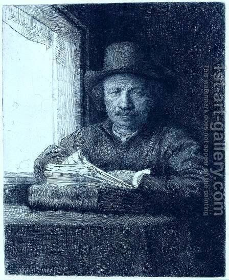 Rembrandt drawing at a window by Harmenszoon van Rijn Rembrandt - Reproduction Oil Painting