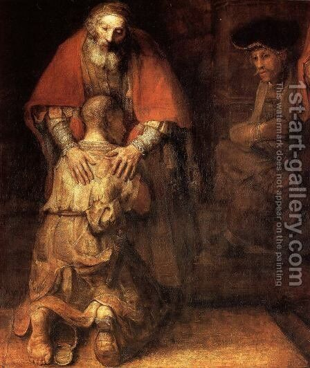 The Return of the Prodigal Son [detail] by Harmenszoon van Rijn Rembrandt - Reproduction Oil Painting