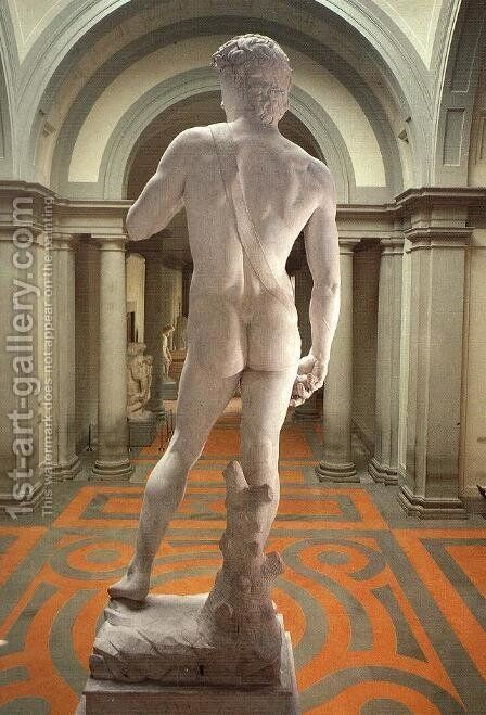 David [detail: rear view] by Michelangelo - Reproduction Oil Painting