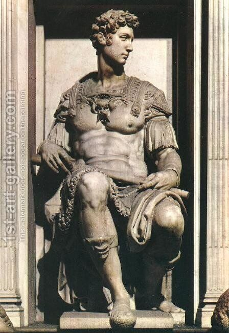 Tomb of Giuliano de' Medici: Giuliano de' Medici by Michelangelo - Reproduction Oil Painting