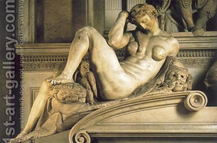 Tomb of Giuliano de' Medici: Night by Michelangelo - Reproduction Oil Painting