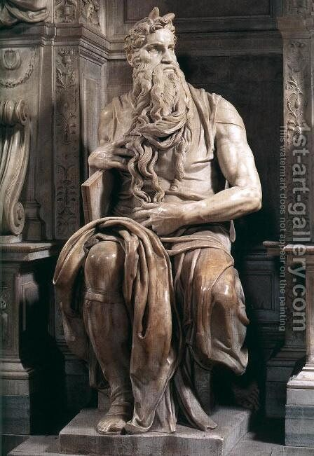 Tomb of Pope Julius II: Moses by Michelangelo - Reproduction Oil Painting
