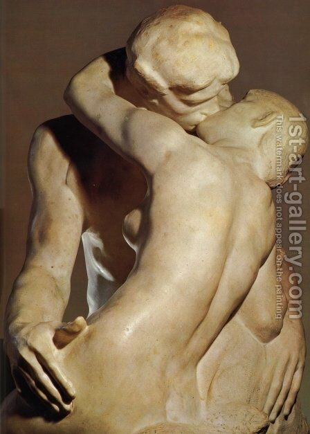 The Kiss [detail: 1] by Auguste Rodin - Reproduction Oil Painting