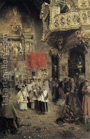 Procession at the End of Mass by Arcadio Mas Y Fondevila - Reproduction Oil Painting
