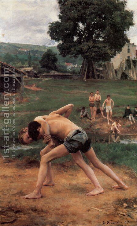 La Lutte (Wrestling) by Emile Friant - Reproduction Oil Painting