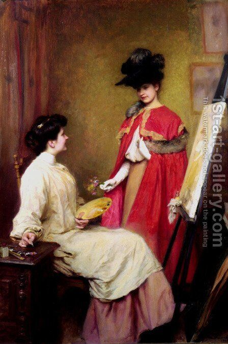 Studio Visit by Emile Friant - Reproduction Oil Painting