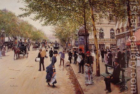 Boulevard des capucines by Jean-Georges Beraud - Reproduction Oil Painting