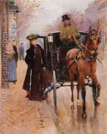 Home, Driver ! by Jean-Georges Beraud - Reproduction Oil Painting
